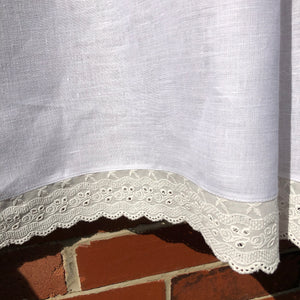 White Linen Cafe Curtain, Off White Lace Kitchen Curtain