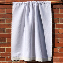 Load image into Gallery viewer, White Linen Cafe Curtain, Off White Lace Kitchen Curtain