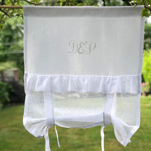 Bathroom Tie up Panel, White Sheer Rollup Shade, White Romantic Ruffle Window Curtain