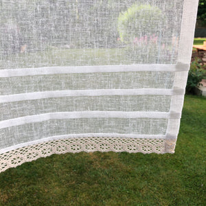 Sheer Cream Ivory Linen Lace Valance Curtain, Custom Neutral Kitchen, Bathroom Privacy