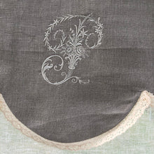 "Load image into Gallery viewer, Natural Linen Tie Up Curtain with Monogram, Sheer Cream Kitchen Valance, 28"" length"