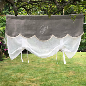 "Natural Linen Tie Up Curtain with Monogram, Sheer Cream Kitchen Valance, 28"" length"
