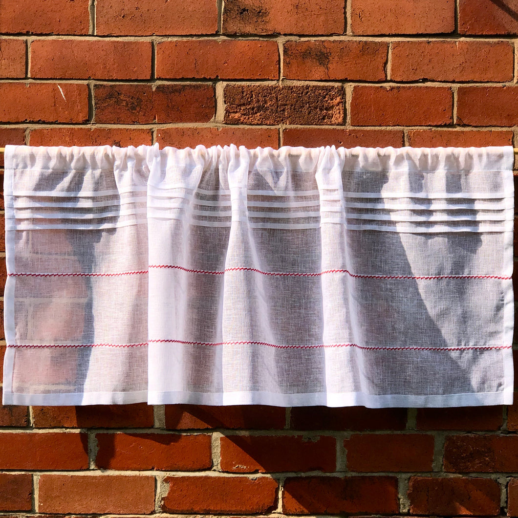 Sheer White Kitchen Cafe Curtain, French Linen,  Half Window Privacy Curtain, Country Cottage Paris Decor