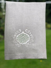 Load image into Gallery viewer, Pumpkin Linen Towel, Thanksgiving Hemstitched Towel,  Fall Guest Room