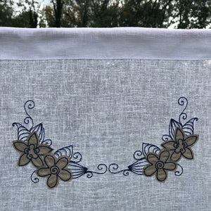 Sheer White Tie Up Curtain, Natural Linen Flower Sketch French Navy Embroidery, Length 28""