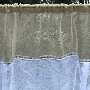 White Natural Sheer Lace Linen Lace Tie Up Curtain, Scroll Kitchen Bathroom Curtain, French Country