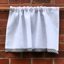 Load image into Gallery viewer, Pure White Linen Grey Lace Cafe Curtain, White Kitchen, Bathroom