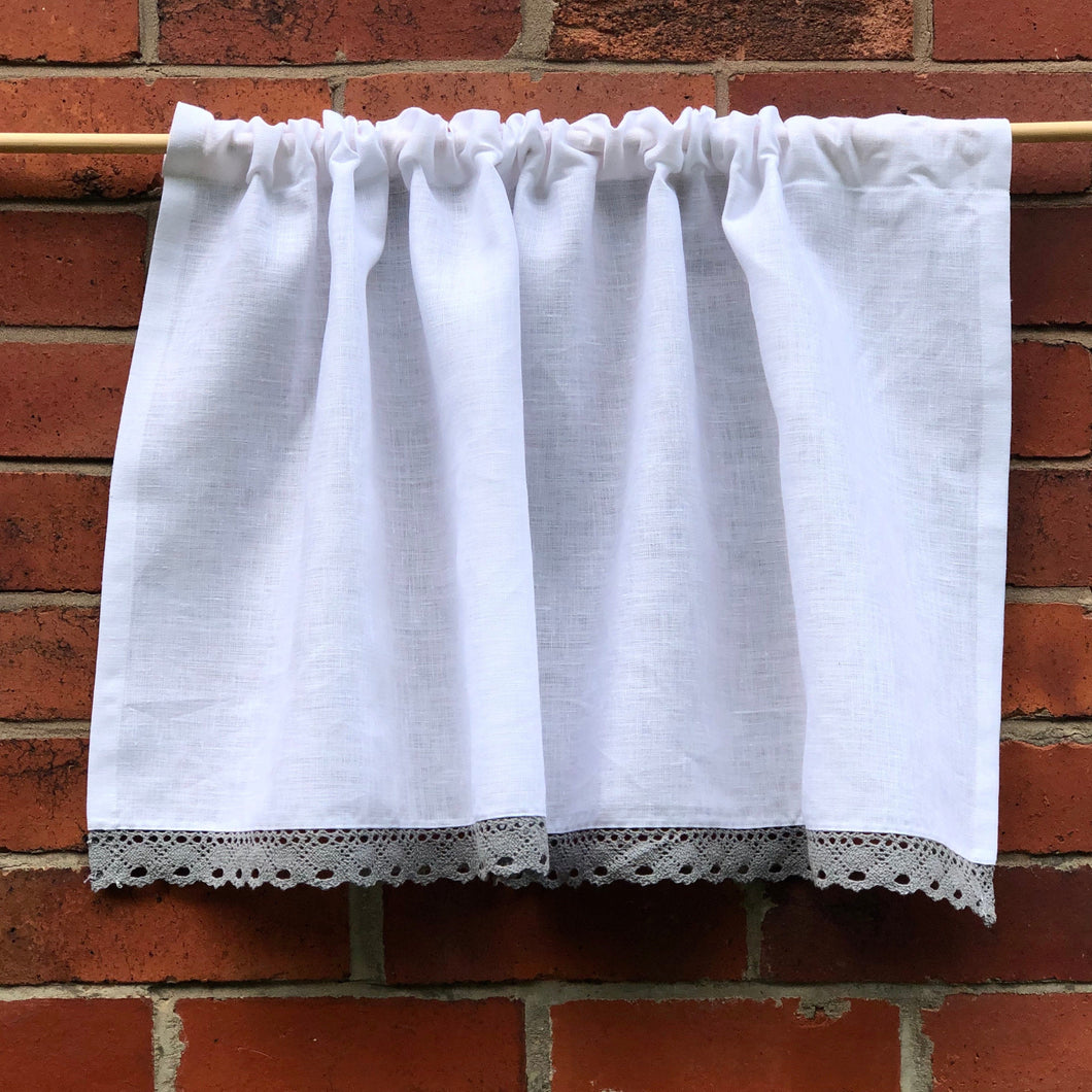 Pure White Linen Grey Lace Cafe Curtain, White Kitchen, Bathroom