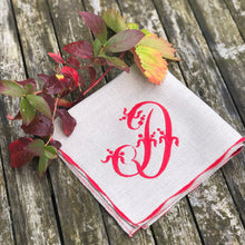 Load image into Gallery viewer, Natural flax linen serviette with Christmas red embroidered french monogram and decorative scalloped stitched edging
