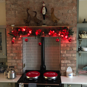 Custom Personalised Red Aga Chef pads, Embroidered Merry Christmas hot plate covers, linen heat resistant pads