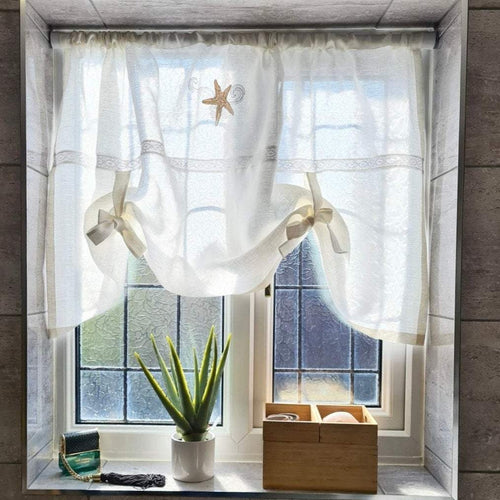 White Linen Bathroom Tie Up Curtain with Starfish Seascape Beach House embroidery