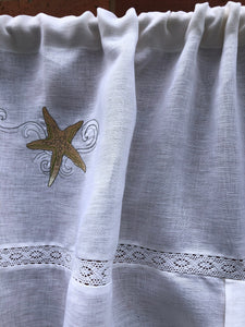 Linen Seascape Beach House Curtain with Starfish Embroidery