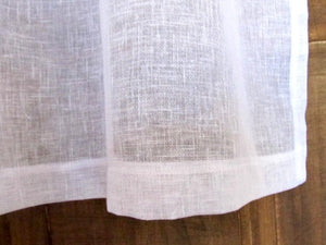 Sheer White Linen Cafe Curtain, Kitchen Panel