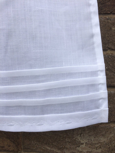White Pleated Linen Window Curtain