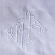 Load image into Gallery viewer, Personalised White Linen Pillowcase With Embroidered Monogram