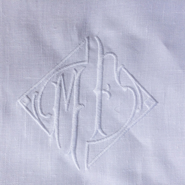 Personalised White Linen Pillowcase With Embroidered Monogram