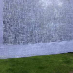Sheer Linen Panel with Embroidered Monogram