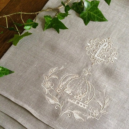 Bespoke Monogram Table Runner Natural Linen Crown Wreath
