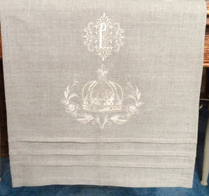 Table Runner - Bespoke Monogram Table Runner Natural Linen Crown Wreath
