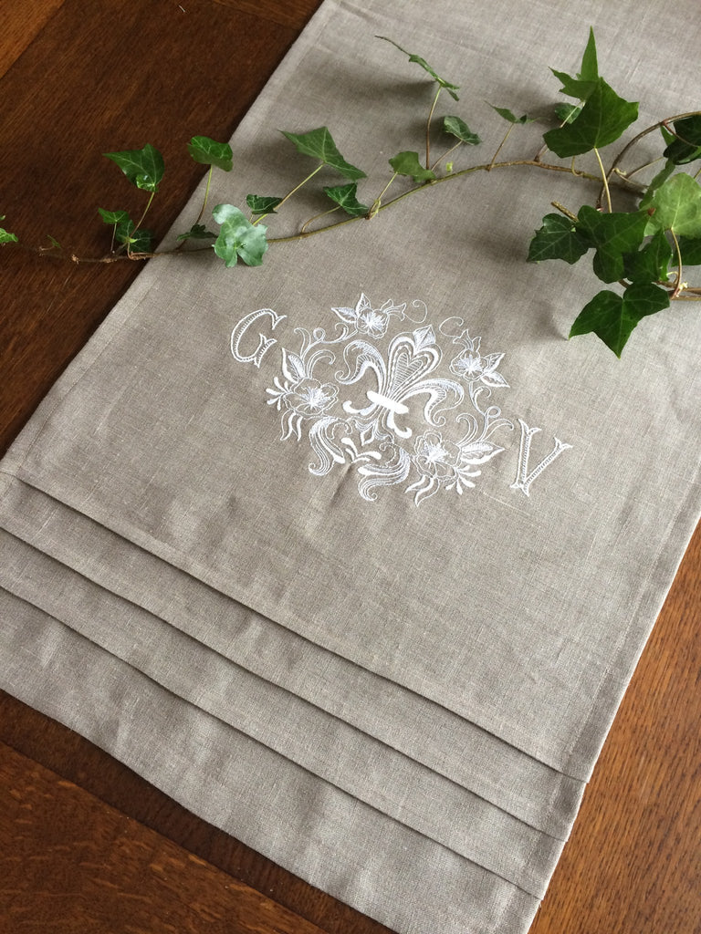 Table Runner - Linen Fleur De Lis Table Runner With 2 Letter Monogram