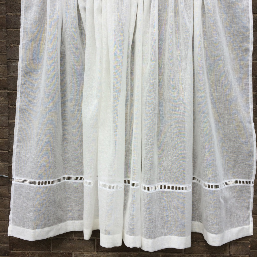 Tall Curtain - Tall Sheer Linen Panel With Ladder Trim