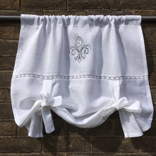 Load image into Gallery viewer, White Linen Tie Up Linen Curtain with Vintage Fleur de Lis