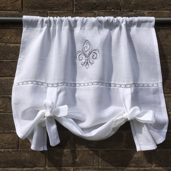 White Linen Tie Up Linen Curtain with Vintage Fleur de Lis