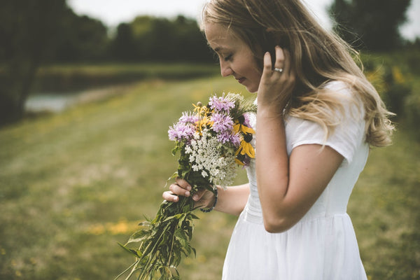 girl with fresh flowers