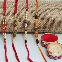 set of 4 rakhi - Send Rakhi to Occasion Rakhi Bhaiya Bhabhi
