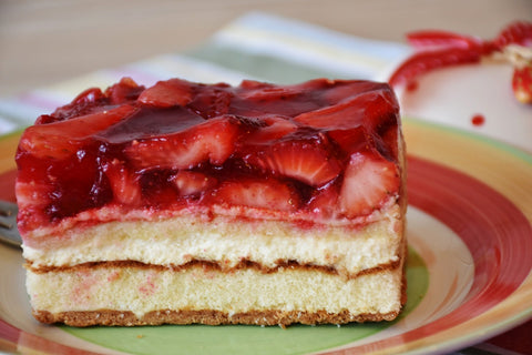 strawberry topped candy-cane cheesecake