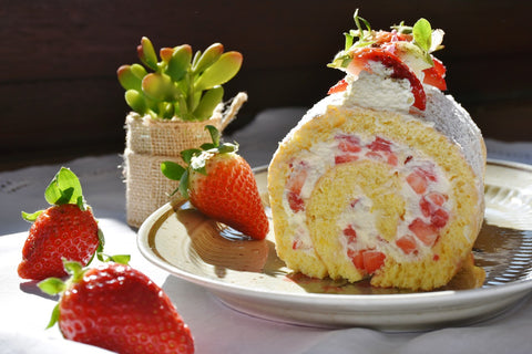 fresh cream cake with center filled strawberries