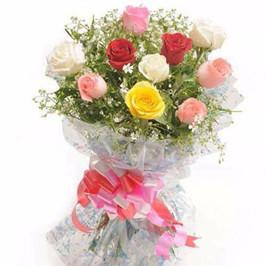 Charming Mixed Rose Bouquet - for Midnight Flower Delivery in Category | Flowers | Flowers Below Rs 500
