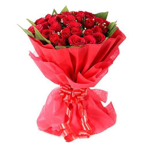 Sweet Connection 40 Red Roses Bouquet - for Midnight Flower Delivery in India