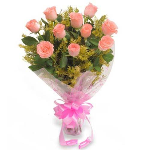 Lovely Pink Rose Bouquet-baby pink roses bouquet - for Flower Delivery in India