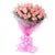 Pink Delight Rose Bouquet-pink flower bouquet- Best Gift Delivery in Category Gifts Anniversary -Product Details: 24 Pink Roses Cellophane Packing  Pink Ribbon Green Fillers Flowers are token of love and affection, especially roses and that is the reason roses speak those words which are unable to speak and express, and for that, we have this bouquet to assist you with a bouquet of 24 pink roses wrapped in cellophane sheet.A Delightful bouquet of Pink roses is used to thank your loved ones and let them know you how much you care.While we always strive to ensure that products are accurately represented in our photographs, from season to season and subject to availability, our florists may be required to substitute one or more flowers for a variety of equal or greater quality, appearance and value.