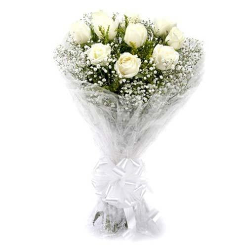 Pure Love Bunch of White Rose - from Best Flower Delivery in India