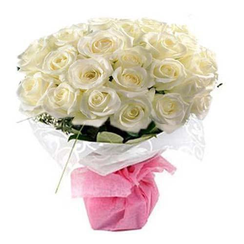 Pure White Rose Bouquet-all white flower bouquet - for Flower Delivery in Category Flowers White Flowers