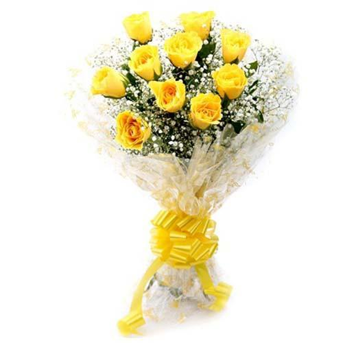 Joyful Yellow Rose Bouquet - for Online Flower Delivery In India