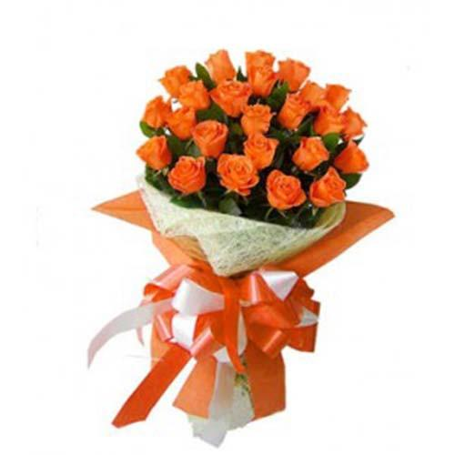 Passion Orange Rose Bouquet - for Midnight Flower Delivery in India