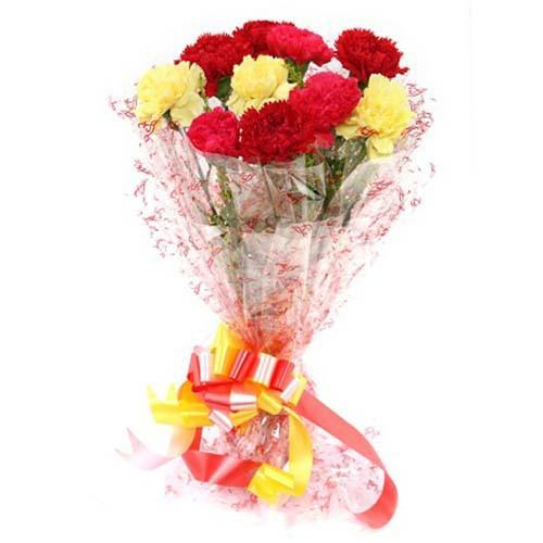 Vibrant Mixed Carnation Bouquet - for Online Flower Delivery In India