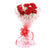 Lovely Red Carnation Bouquet- -A lovely bouquet of 12 red carnations for your loved ones. This bunch is hand made with fresh red carnations, white fillers and red ribbon bow.   While we always strive to ensure that products are accurately represented in our photographs, from season to season and subject to availability, our florists may be required to substitute one or more flowers for a variety of equal or greater quality, appearance and value.