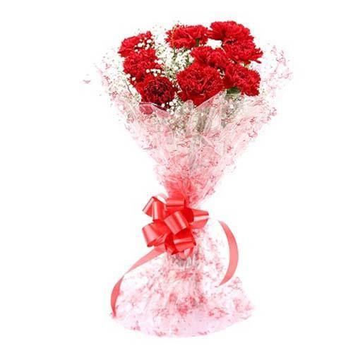 Lovely Red Carnation Bouquet - for Flower Delivery in India