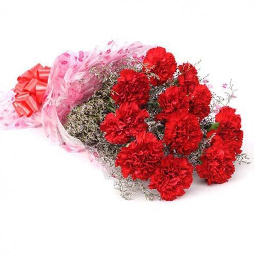 Pretty Red Carnation Bouquet - for Flower Delivery in India