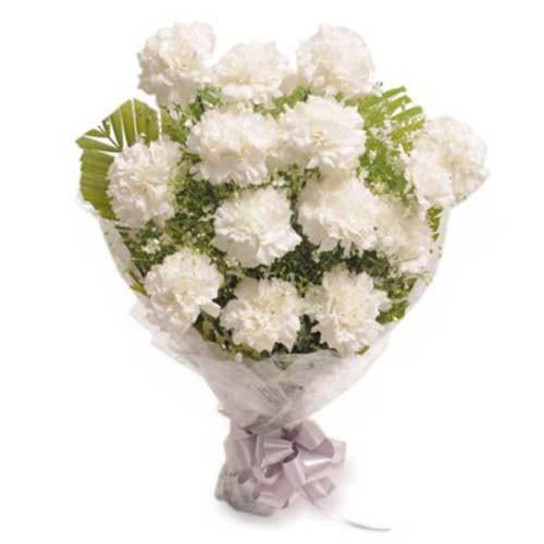 Good Luck White Carnation Bouquet - for Flower Delivery in Category | Flowers | Carnations