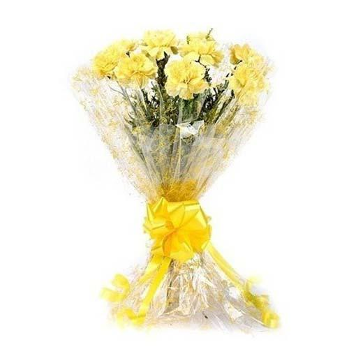 Lively Yellow Carnation Bouquet - for Online Flower Delivery In India