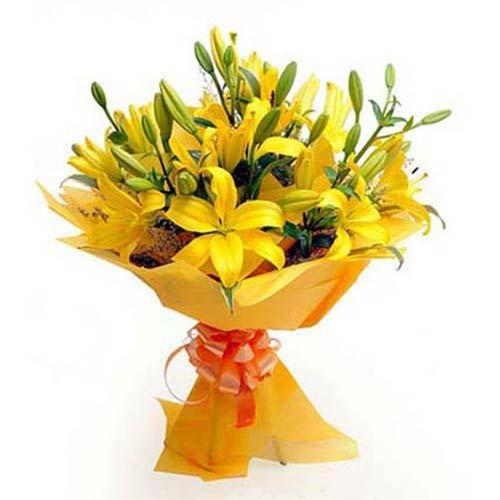 Vibrant Yellow Lily Bouquet - for Midnight Flower Delivery in Flowers Online