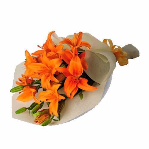 Cheerful Orange Lily Bouquet - for Flower Delivery in Love And Romance