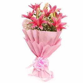 Lovely Pink Lily Bouquet - from Best Flower Delivery in India