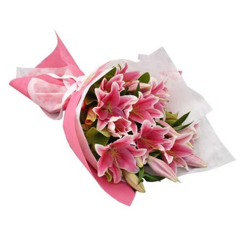 Princess Pink Lily Bouquet - for Online Flower Delivery In India