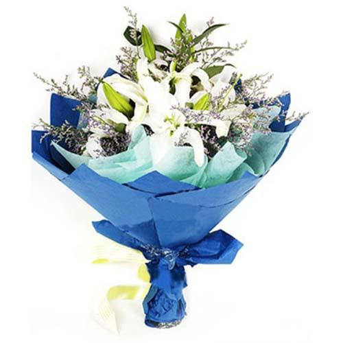 Royal White Lily Bouquet - from Best Flower Delivery in India